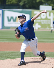 Adam Wilk pitches for the Whitecaps. cr Wendy Smith